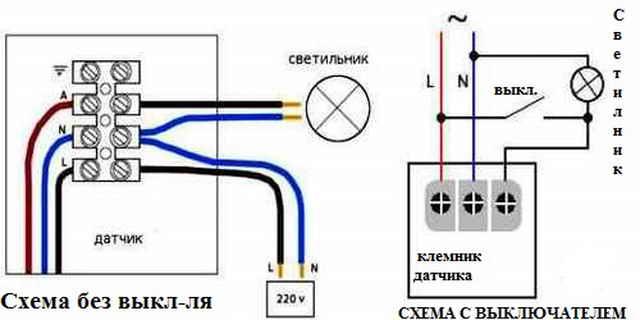 Схема подключения датчика движения feron sen56